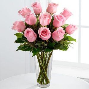 bouquet de 12 roses rose